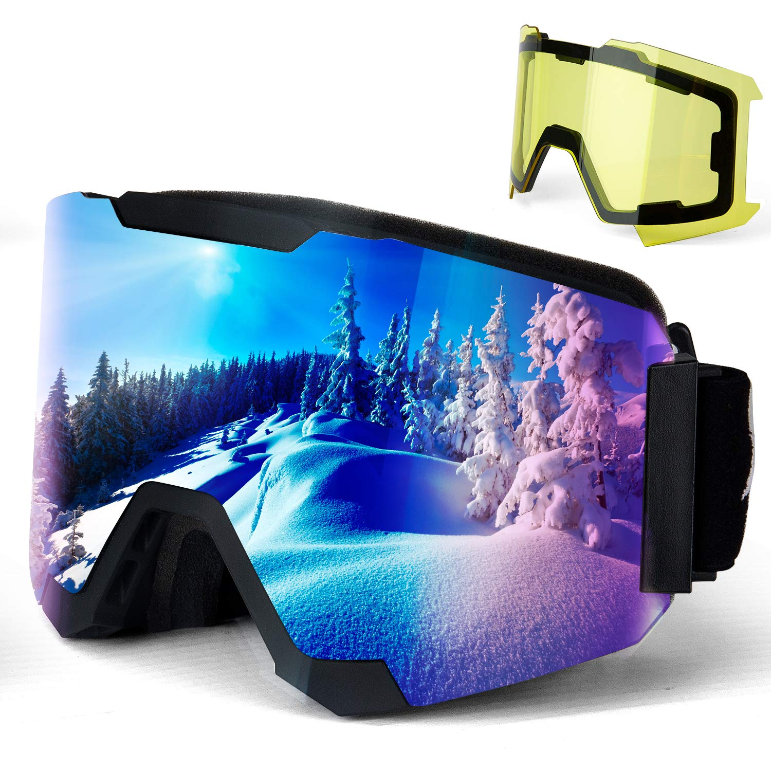 4ActiveU-Ski-Goggles-OTG-Helmet-Compatible-Anti-Fog-Snowboard-Snow-Goggles-Magnetic-Lens-UV-Protection-for-Men-Women-Youth