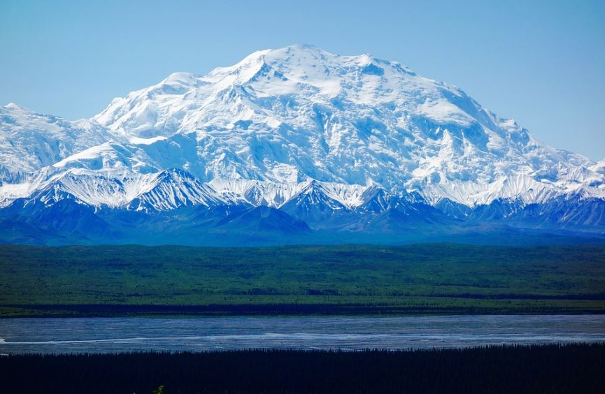 Denali Mountain blanketed with thick glaciers