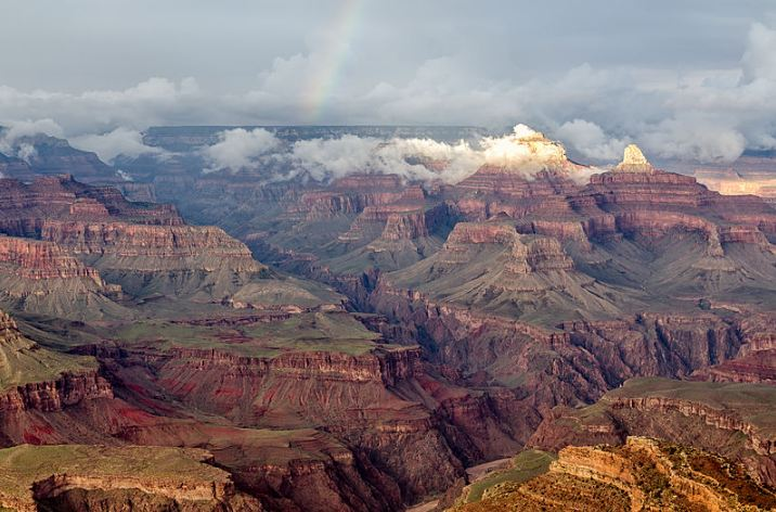 A view of the Grand Canyon with a Rainbow from Hopi Point