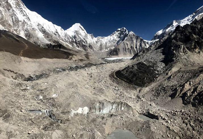 Rocky trails of Khumbu moraines enroute to Lobuche village