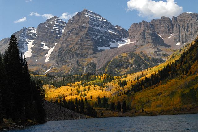 Maroon Lake at peak fall color in late September 2011 on the White River National Forest in Colorado