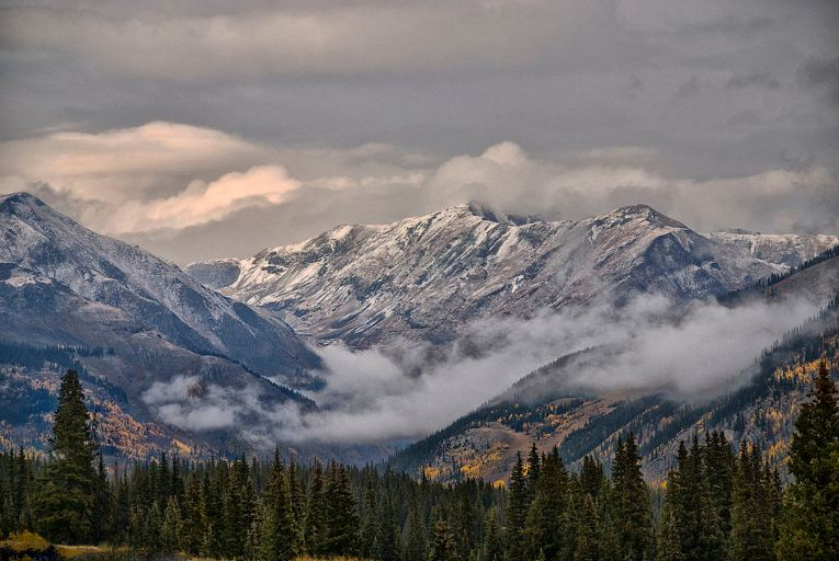 View from Durango, San Juan Mountains during Fall season